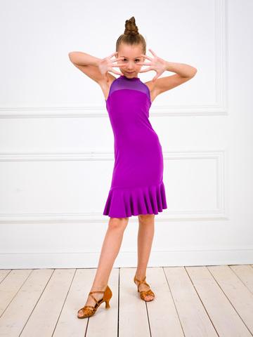 Платье для танцев с сеткой и воланом