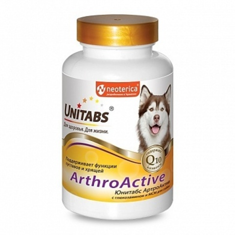 ЮНИТАБС Артроактив Q10 витамины для собак с глюкозамином и МСМ   100 таб.