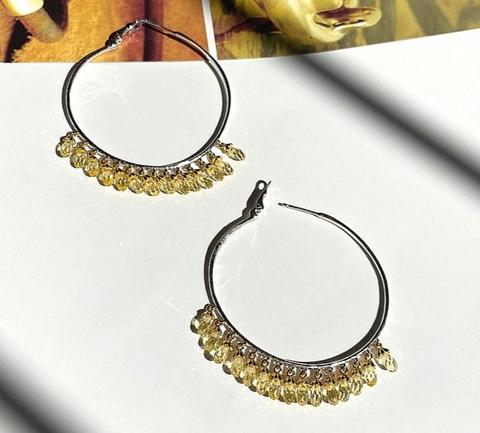 168/023- Серьги-кольца (конго) Drop из серебра с желтыми, каплевидными цирконами