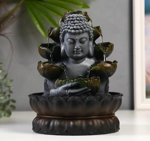 Фонтан настольный от сети Будда с кувшинками