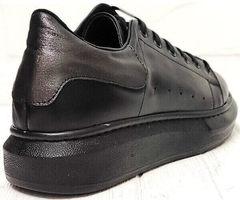 Кожаные кеды кроссовки на высокой подошве женские EVA collection 0721 All Black.