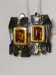 Тимора-черный(серьги  из серебра)