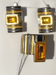 Рембо-черный(кольцо + серьги из серебра)