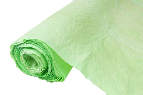 Бумага жатая эколюкс 70см х 5м светло-зеленая/золото 02G