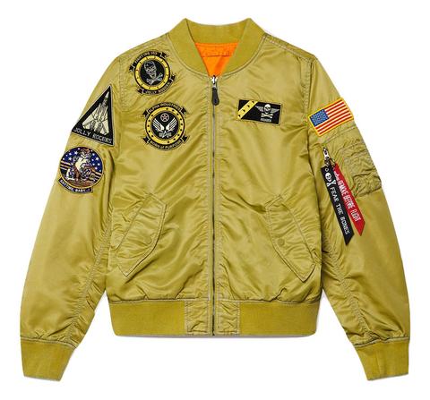 Бомбер Alpha Industries L-2B Fear the Bones Battlewash (Желтый)