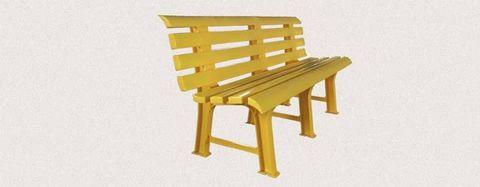 Пластиковая скамья полимерная желтая