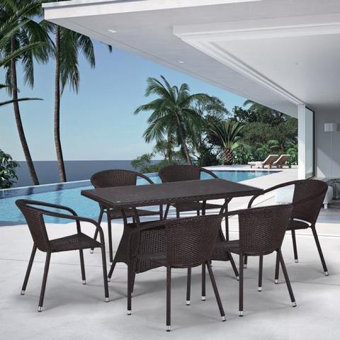 Обеденный комплект плетеной мебели из искусственного ротанга T198D/Y137C-W53 Brown 6Pcs