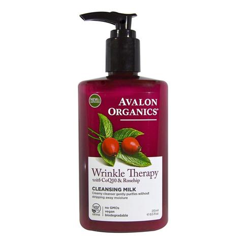 Avalon Organics CoQ10 & Rosehip: Очищающее молочко против морщин с коэнзимом Q10 и шиповником (Wrinkle Therapy With CoQ10 & Rosehip Cleansing milk), 251мл