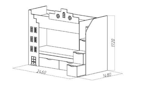 Двухъярусная кровать-домик подростковая схема