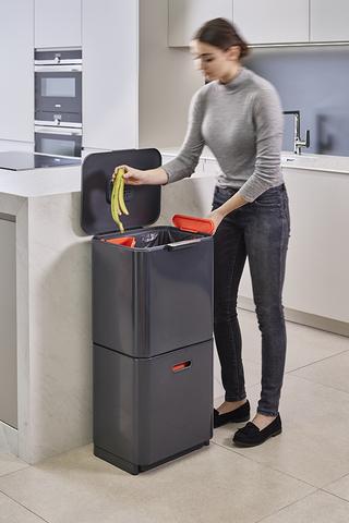 Контейнер для мусора с двумя баками Totem Max 60 л графит