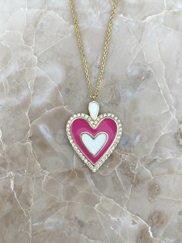 Колье Ремана из серебра, розовая эмаль