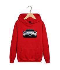 Толстовка красная с капюшоном (худи, кенгуру) и принтом Альфа Ромео (Alfa Romeo) 002