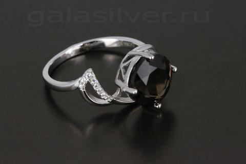 Кольцо с раухтопазом и цирконом из серебра 925