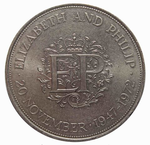 25 новых пенсов 1972 Великобритания (25 лет свадьбы Елизаветы и Филиппа) XF