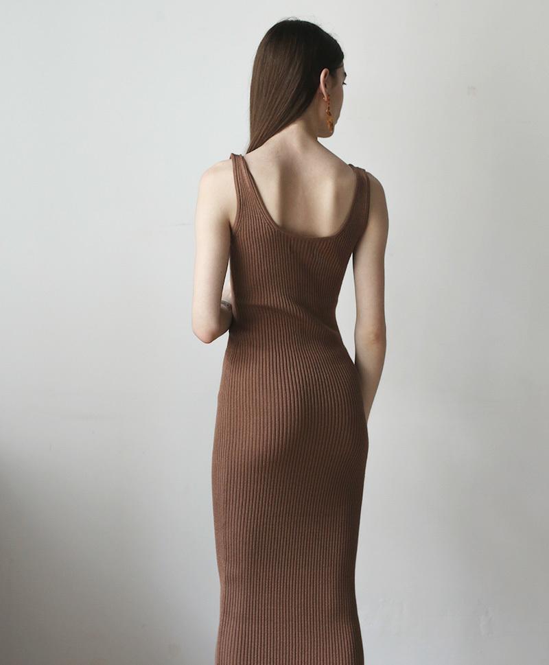 Платье-майка длинное коричневое