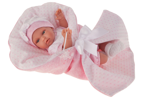 Munecas Antonio Juan Кукла Айна в розовом, озвученная (детский лепет), 29 см (1786P)