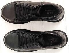 Осенние кроссовки женские черные кожа EVA collection 0721 All Black.