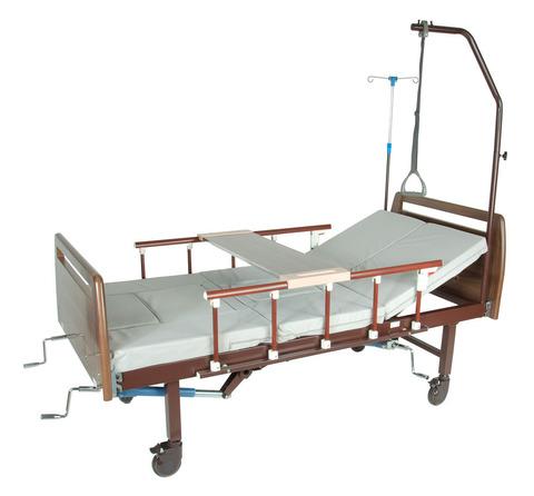 Медицинская кровать E-45A (MM-39), с туалетным устройством, ЛДСП под дерево - фото
