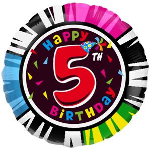 Фольгированный шар С днем рождения Цифра 5 18