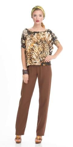 Фото коричневые брюки из вискозы прямого свободного покроя - Брюки А398-178 (1)