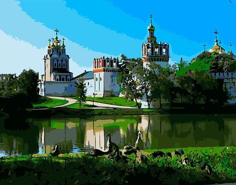 Алмазная Мозаика 40x50 Вид на город через реку