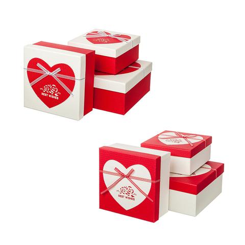 Набор коробок подарочных квадратных 3 шт, 19,5 х 19,5 х 9,5 см, цвет: красный/белый