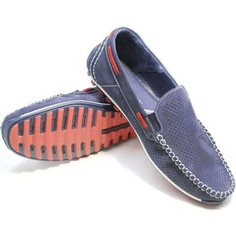 Смарт кэжуал летние мокасины туфли кожаные мужские. Синие мужские туфли мокасины с перфорацией Faber Navy-Blue.    41-й размер
