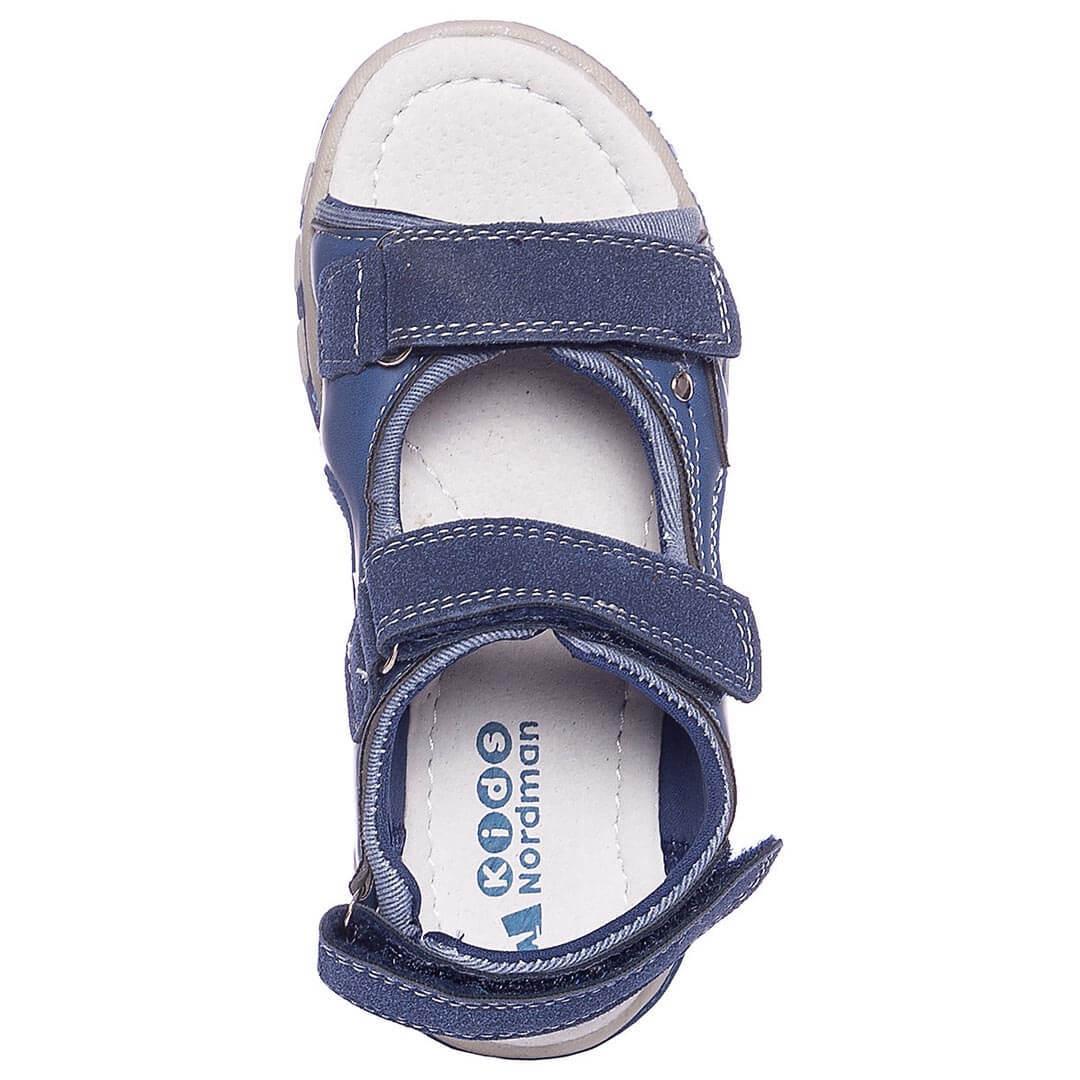 Кожаные анатомические сандалики Nordman Boom голубые