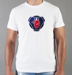 Футболка с принтом Scania (Скания) белая 009
