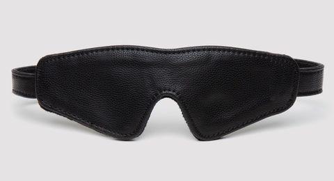 Черная плотная маска на глаза Bound to You Faux Leather Blindfold