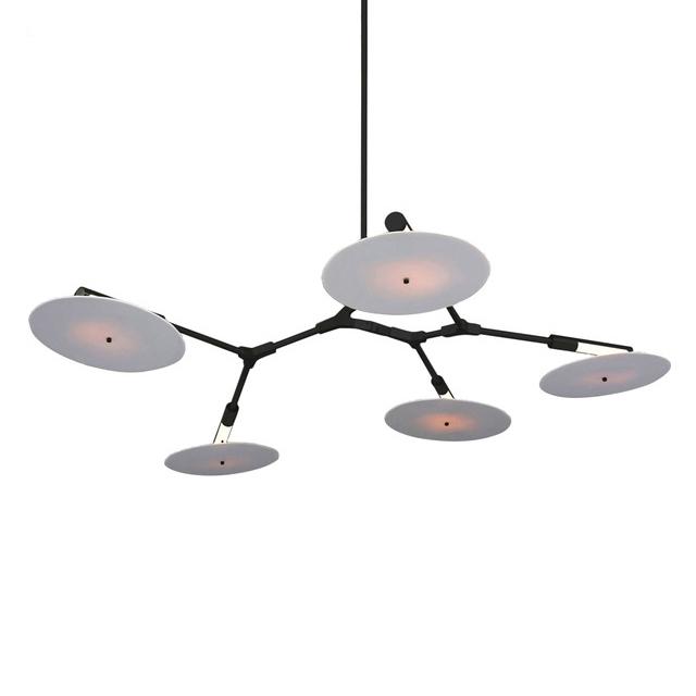 Потолочный светильник копия Branching Discs by Lindsey Adelman (5 плафонов, черный)