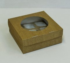 Коробка для 9 капкейков 25*25*10 с окном, крафт/белая