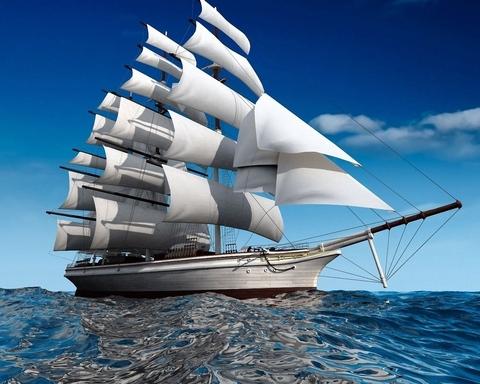 Алмазная Мозаика 30x40 Корабль с белыми парусами на тихой воде (X094 )