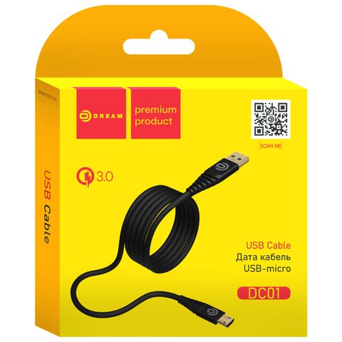 Кабель USB - microUSB 1м QC3.0 Dream (черный)