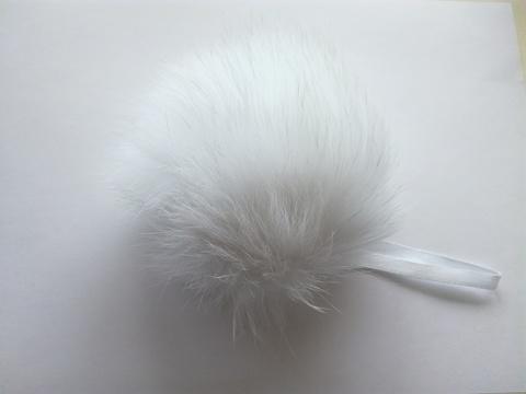 Помпон песец натуральный белый 14-16 см