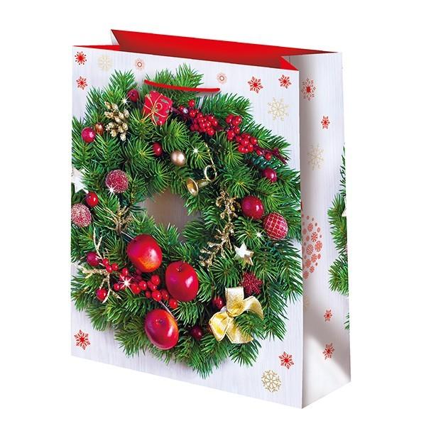 Новогодний подарочный пакет Венок (средний)