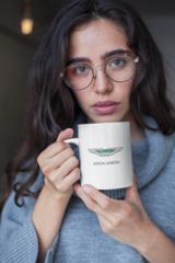 Женская кружка с принтом Астон Мартин (Aston Martin) белая 002