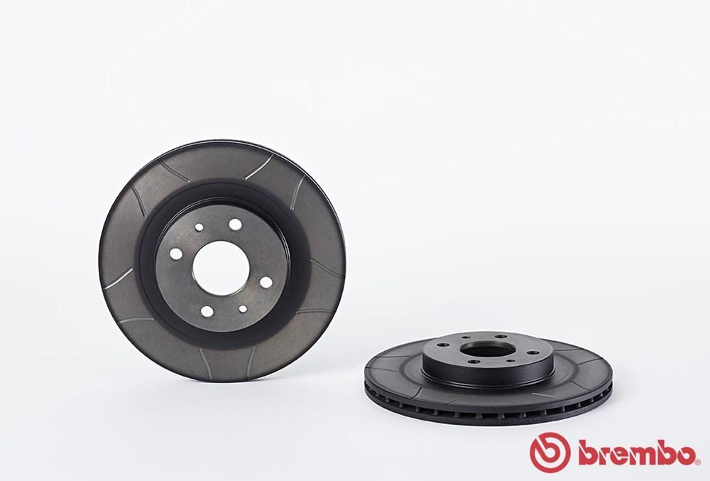 Диск тормозной переднего тормоза Brembo Max (с проточками) для Lada Granta