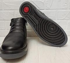 Кожаные ботинки мужские зимние. Черные зимние ботинки на цигейке  IKOS-1362-1