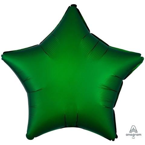 Шар звезда сатин зеленый, 45 см