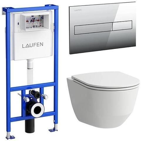 Комплект унитаз безободковый и система инсталляции с кнопкой смыва Laufen Pack Pro 8.6996.6.000.000.R с сиденьем микролифт купить с скидкой