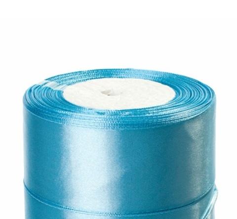Лента атласная (размер:40мм х 25 ярдов) Цвет:светло-голубой_1