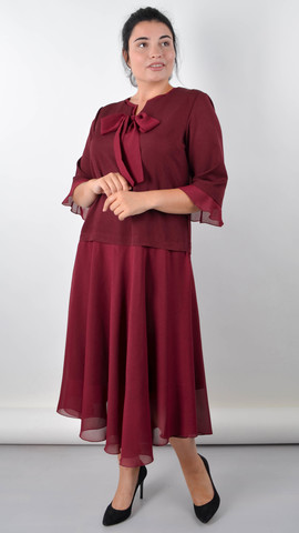 Касандра. Праздничное платье плюс сайз. Бордо.