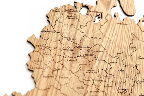 Карта России 250х157см (дуб) с гравировкой