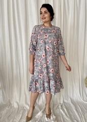 Дорі. Легке молодіжне весняне плаття з воланом. Сірий