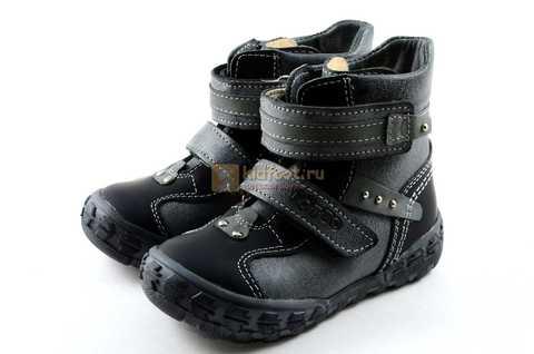 Ботинки Тотто из натуральной кожи демисезонные на байке для мальчиков, цвет черный. Изображение 6 из 10.