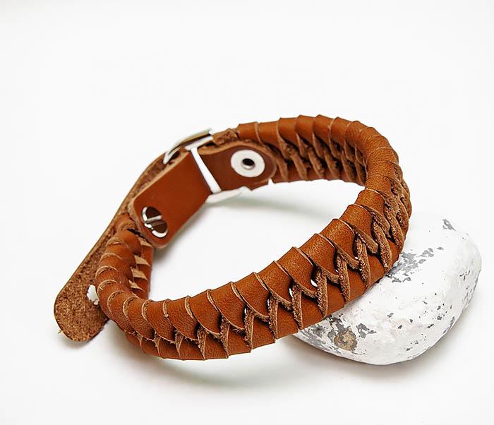 BL807-2 Браслет ручной работы из коричневого кожаного шнура
