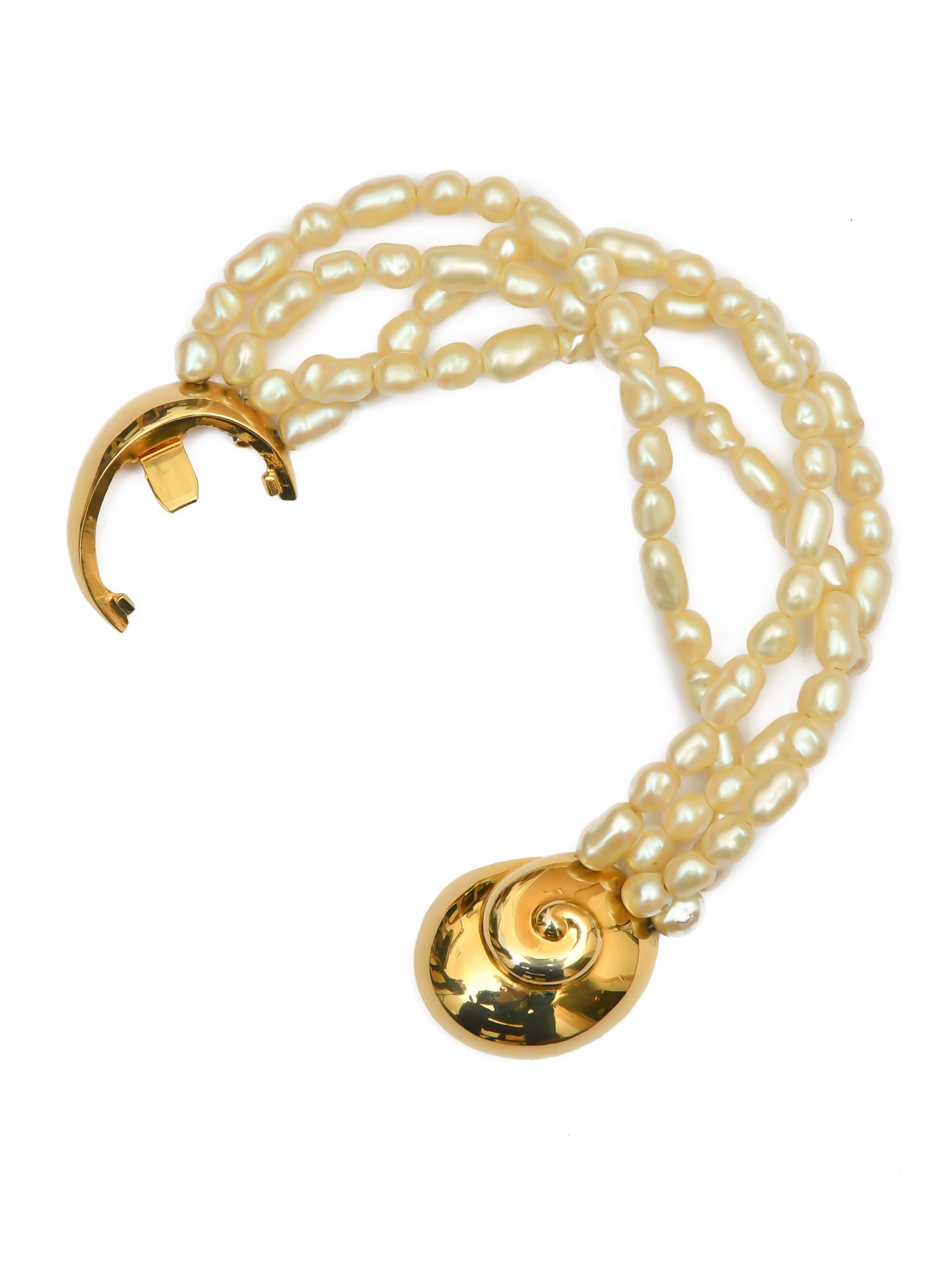 Стильный жемчужный браслет Pierre Cardin 1970-е