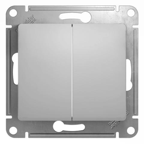 Выключатель двухклавишный, 10АХ. Цвет Алюминий. Schneider Electric Glossa. GSL000351
