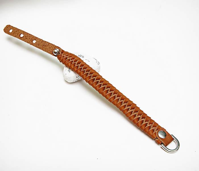 BL807-2 Браслет ручной работы из коричневого кожаного шнура фото 02